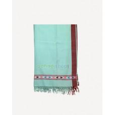 Cyan, Silver Wool-Eri Silk Vegetable Dyed Shawl